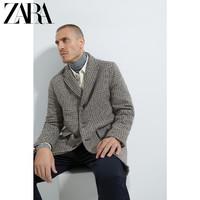 ZARA 男装 秋冬格子纹理中长款大衣外套 07020301707
