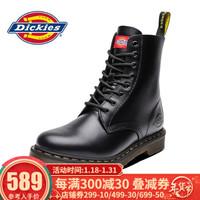 Dickies马丁靴女靴 秋冬新款高帮靴子 情侣款 潮牌机车鞋英伦 黑色(男款) 39