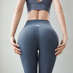 山品良造 瑜伽裤女夏季薄新款高腰蜜桃臀弹力速干运动跑步裤紧身纯色美体塑形健身长裤 灰蓝色 *4件