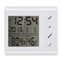 绿之源 电子温湿度计 浴室温度计家用办公高精度干湿度计室内婴儿房温湿度计表带时间闹钟 *4件