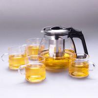 禾艾苏(heisou)玻璃大容量家用茶具 1000ml茶壶 4个150ml茶杯
