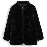 Gap 盖璞 女孩 柔软人造毛皮拉链大衣