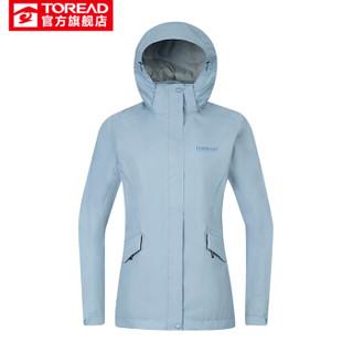 探路者冲锋衣 19秋冬户外女式防水透湿旅行冲锋衣TABH92920 苍蓝 L