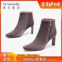 莱尔斯丹秋冬时尚优雅小方头粗跟拼接女士短靴女靴9T80103
