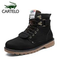 卡帝乐鳄鱼(CARTELO)男鞋休闲中高帮系带韩版舒适时尚潮流马丁工装男靴 906 黑色 40