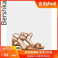 Bershka女鞋 2019新款时尚休闲一字带露趾粗高跟凉鞋 11507031105