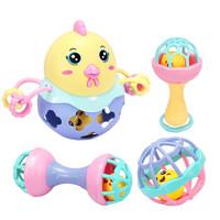 育儿宝 婴儿玩具0-1岁手摇铃半岁宝宝铃铛手抓球牙胶套装 *3件
