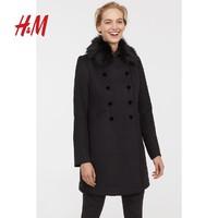 H&M女装外套 女士休闲宽松时尚洋气仿毛领大衣HM0667445