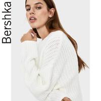 Bershka女士 2019秋冬新款白色宽松简约粗线针织毛衣 06871376712