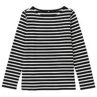 MUJI  无印良品  26AB009 女式 粗棉线条纹长袖T恤