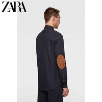 ZARA 新款 男装 肘部装饰牛津衬衣衬衫06608340401