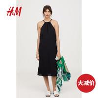 HM 女装裙子至臻品质系列 气质透气挂脖连衣裙 0652094