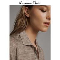 秋冬大促 Massimo Dutti 女装 纽扣领POLO 衫女式修身长袖上衣 06879646779