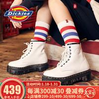 Dickies马丁靴女靴 松糕厚底增高真皮亮面高帮靴子 秋冬新款194W50LXS6FH 白色 38 *2件
