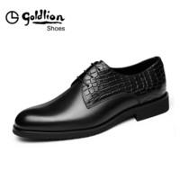 金利来(goldlion)男士都市正装休闲英伦时尚舒适皮鞋502830011ADA-黑色-42码