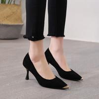卓哈尖头单鞋女韩版百搭高跟鞋细跟工作鞋子时尚猫跟女鞋  F802 黑色 37