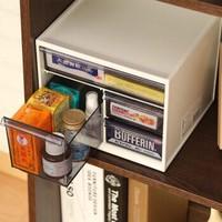 爱丽思IRIS 桌面收纳盒抽屉式化妆品整理盒大号创意家用塑料收纳箱 KC-240R白色 *3件