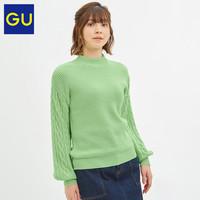 GU极优女装纽花袖高领针织衫2019秋冬新款时尚慵懒风毛衣318721