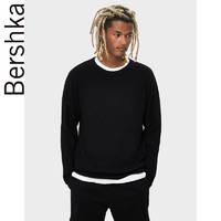 Bershka男士 2019秋季新款黑色基础款纹理毛针织衫 07076623800