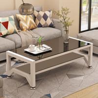 凡社 茶几简约 钢化玻璃小户型 双层可升降桌脚客厅小茶几桌 120*60cm黑白 FCWWB3