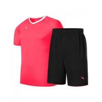 安踏男款运动球服短袖透气足球比赛套舒适户外运动球服两件套