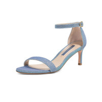 STUART WEITZMAN 斯图尔特·韦茨曼 SW 女士蓝色织物高跟凉鞋 NUNAKEDSTRAIGHT 60 AQUA ICE NIGHTTIME 38.5