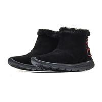 Skechers斯凯奇女鞋轻质反毛皮短靴一脚套雪地靴 14404 黑色 35码