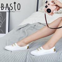 BASTO/百思图秋季软面牛皮革浅口小白鞋女休闲鞋YIP66CQ8 白/金 34 *2件