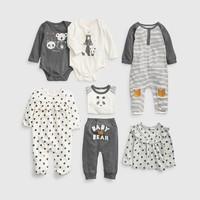 Gap婴儿长袖连体衣494311 2019新款新生儿宝宝卡通印花衣服 *2件
