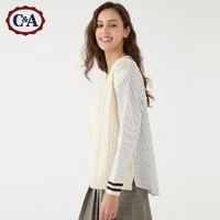 C&A学院风拼接条纹衬衫假两件女V领套头毛衣秋冬款CA200220850 *2件