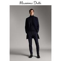 秋冬大促 Massimo Dutti 男装 海军蓝山羊绒/羊毛人字细纹大衣 02414169401