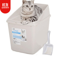 afp猫砂盆半封闭顶入式猫厕所防外溅特大号屎盆 沙色(适合20斤以内) *3件
