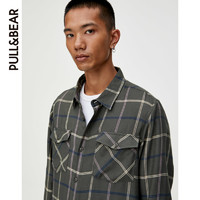 PULL&BEAR 衬衫男长袖男士口袋饰格纹法兰绒衬衫 09475702