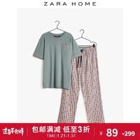 Zara Home 棉质薄款短袖格纹长裤家居服睡衣套装男 42438117999