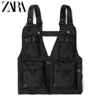ZARA新款 男包 黑色多口袋拉链胸部配饰 16526005040