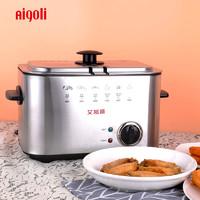 艾格丽6K116电炸锅家用单缸小电炸炉1.5L省油炸油条锅控温小吃锅 *3件