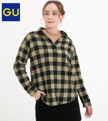 GU 极优 GU318934000 女装法兰绒格纹衬衫