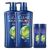 CLEAR 清扬 男士去屑洗发水套装 清爽控油型(720g*2+100g*2+赠洗发露100g*2)