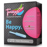 TMAXX 导管式无香型卫生棉条 内置 卫生巾 月经棒 姨妈巾 月亮杯 20支装(德国进口) 量大型 20支装