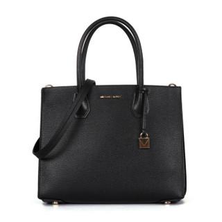 MICHAEL KORS 迈克·科尔斯 MERCER系列女士纯色拉链斜挎手提包30F8GM9T3T 黑色大包