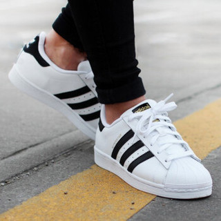 Adidas 三叶草 C77124/C77154 Superstar 男女款金标贝壳头白鞋