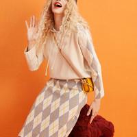 elf sack 妖精的口袋 19406025 女士卫衣半身裙两件套套装 19406025 奶茶绿色 M