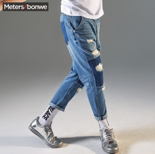 美特 Meters bonwe 斯邦威 男士补丁牛仔裤