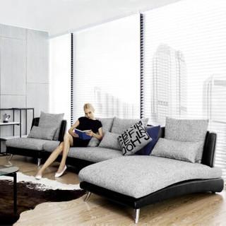 A家家具 简约布艺沙发 单人位+双人位+贵妃位