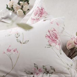 堂皇 床品家纺 纯棉斜纹印花四件套 全棉床单式套件 花意枝头 粉色 1.5米床 200*230cm