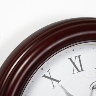 康巴丝(COMPAS)三代智能实木电波钟静音挂表欧式客厅办公木制挂钟14英寸钟表2025M 罗马数字款