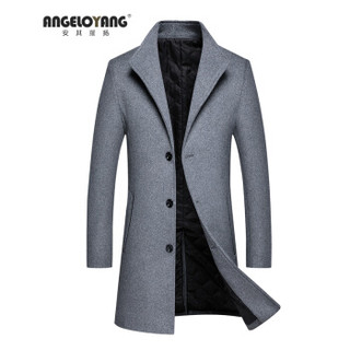安其羅扬 ANGELOYANG秋冬新款毛呢大衣男中长款羊毛风衣加厚羊毛尼商务外套 毛呢大衣 深灰色 170