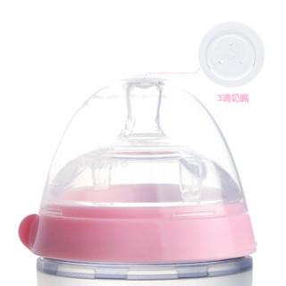 可么多么 COMOTOMO 奶瓶 宽口径硅胶奶瓶配3滴奶嘴250ml韩国原装进口(粉色)新生儿