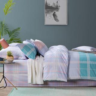 堂皇 床品家纺 全棉斜纹格子条纹四件套 纯棉床单被罩 漫步加来 花色 1.8米床 220*240cm