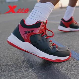 特步男子篮球鞋新款防滑耐磨减震球鞋男舒适透气运动鞋男881419129682 黑红 43码